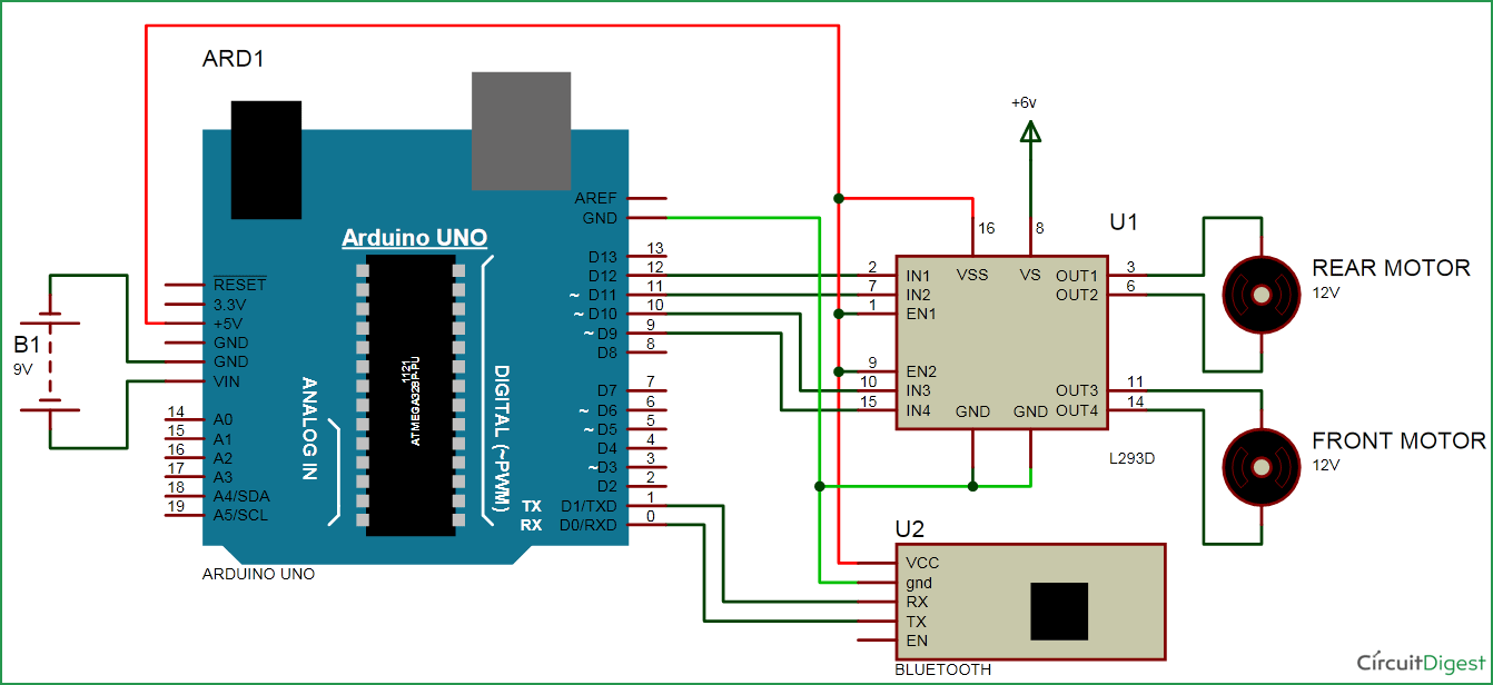 bluetooth controlled car circuit diagram [ 1342 x 616 Pixel ]