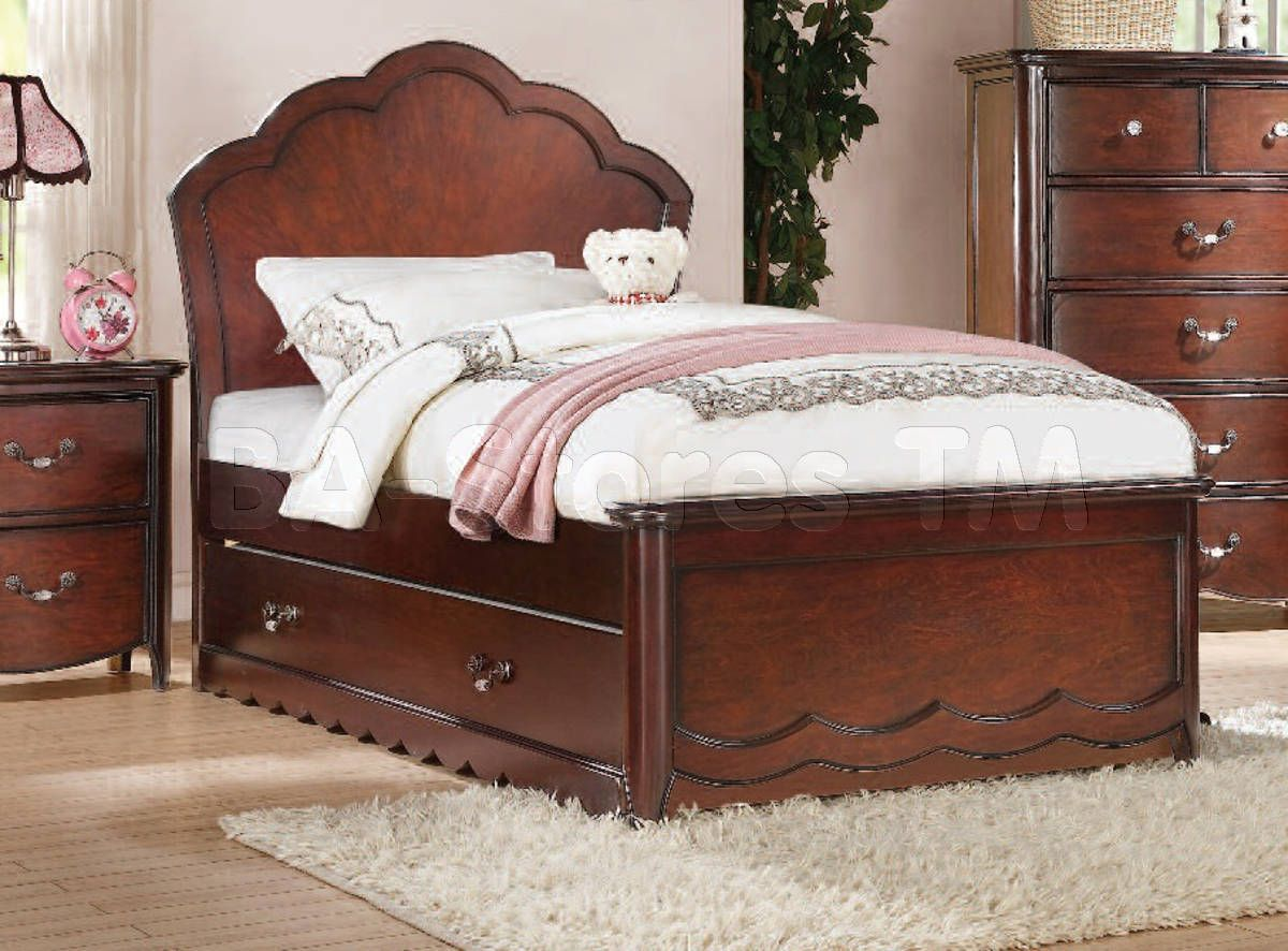Cecilie Youth Panel Bed and Trundle in Cherry by Acme
