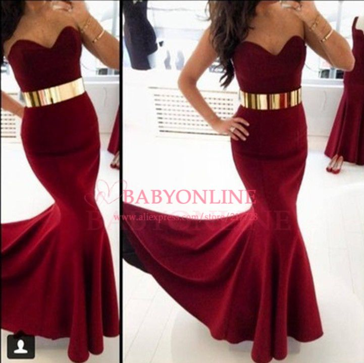 2d727cbe1713 2014 New Fashion Women Special Occasion Dresses Burgundy Satin Long Mermaid  Prom Dresses With Gold Belt Evening Gowns BO5198 $159.00