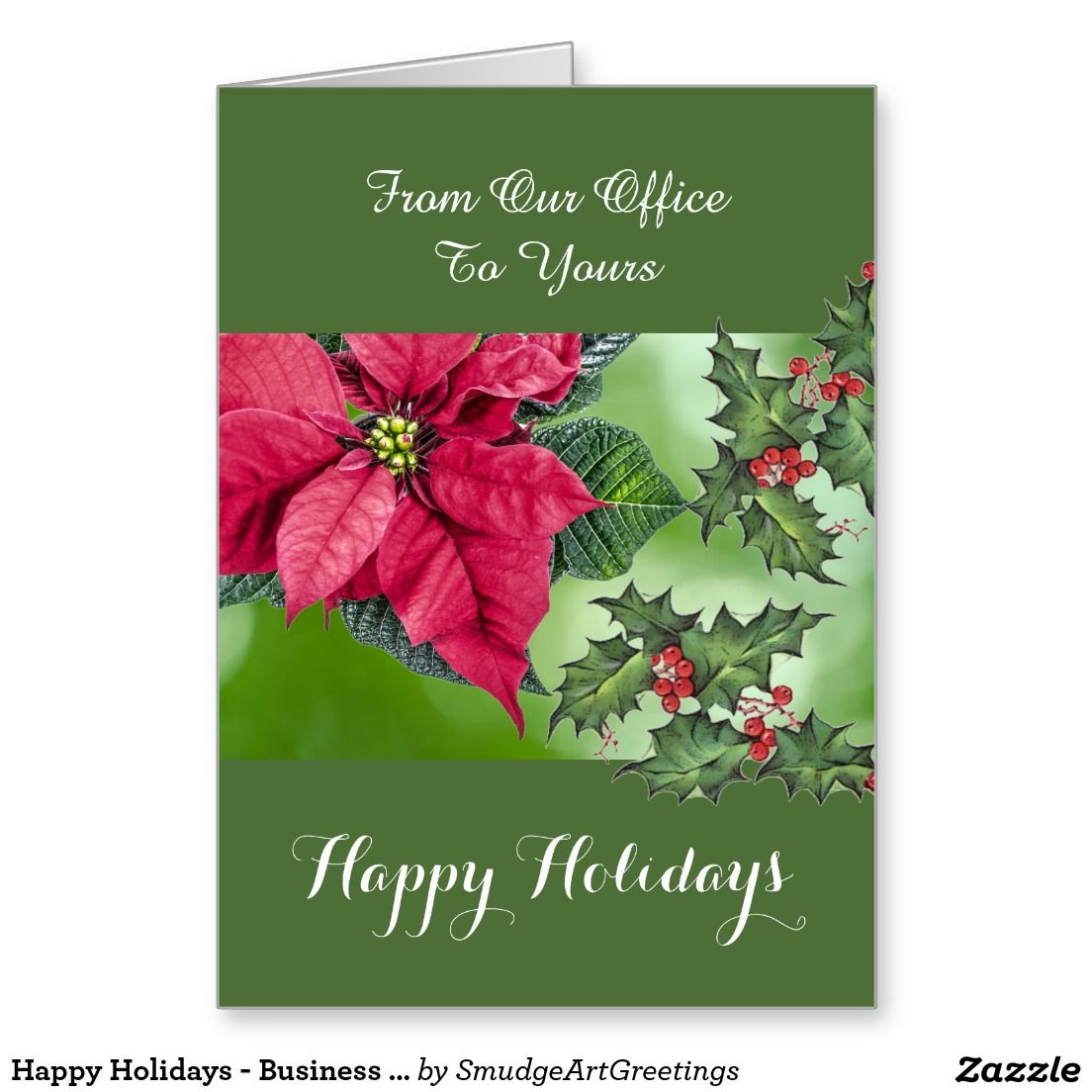 Happy Holidays - Business / Corporate -Poinsettia Greeting Card ...