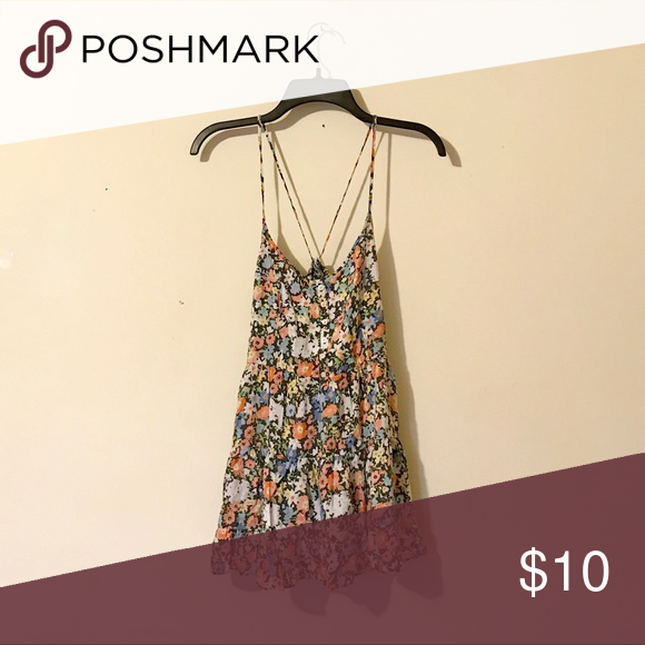 Aeropostale Long Floral Tank Adjustable spaghetti straps. Will act as a dress on petite frames. Aeropostale Tops Tank Tops