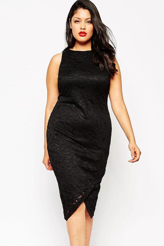 Sleeveless High Neck Plus Lace Midi Dress   Plus Size Dresses ...