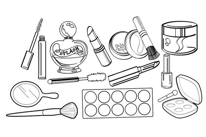 Professional Cosmetics Makeup Kit Coloring Sheet Makeup Drawing Coloring Pages For Girls Makeup Clipart
