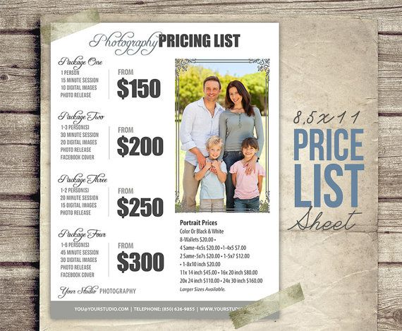 Photography Package Pricing Photographer by StudioTwentyNine - sample price list
