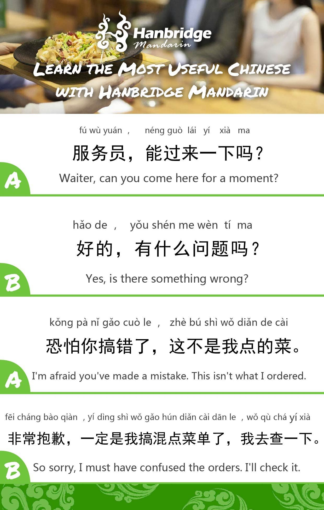 Frequently Used Chinese Sentences Order Chinese Food In A Restaurant Chinese Sentences Learn Chinese Mandarin Chinese