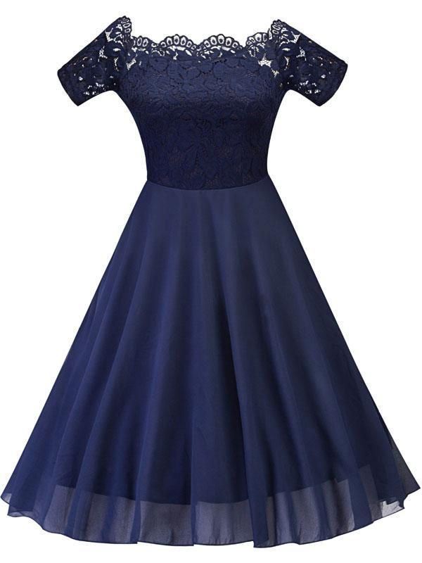 Vintage1950s Women's Bateau Short Sleeve Lace Dress #navyblueshortdress