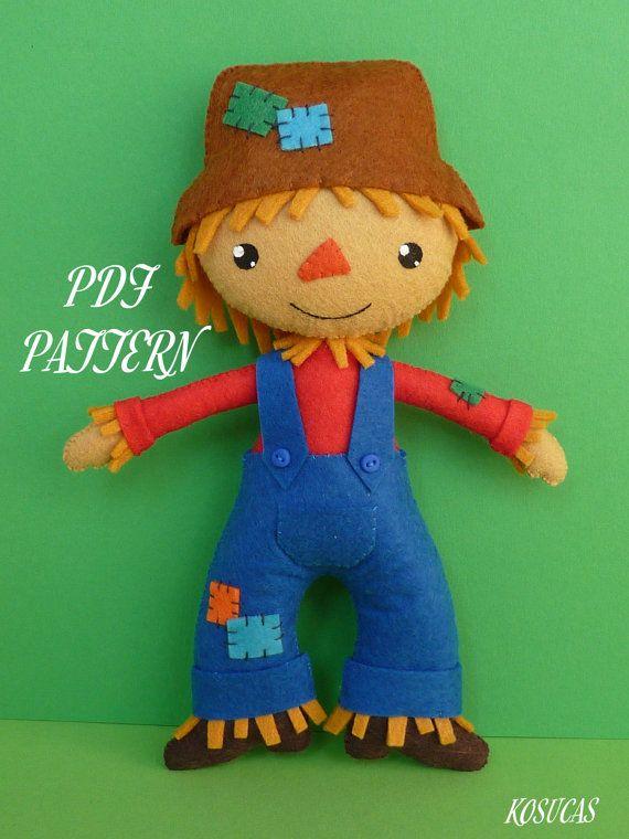 PDF sewing pattern to make felt scarecrow | muñecos fieltro ...