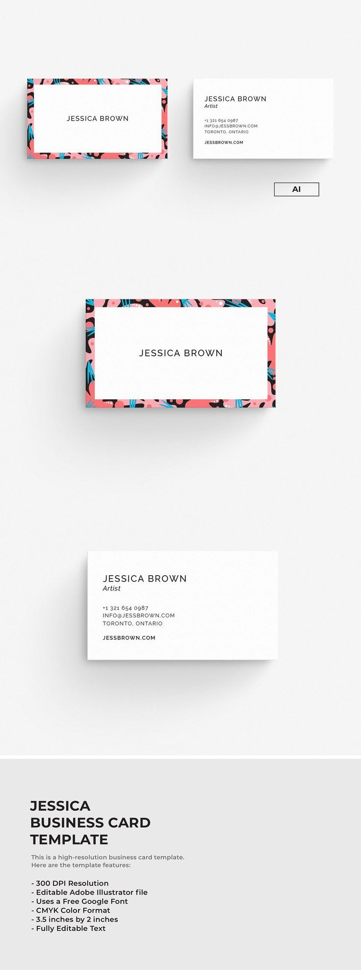 Jessica – Business Card Template. A high-resolution card template editable in Il…