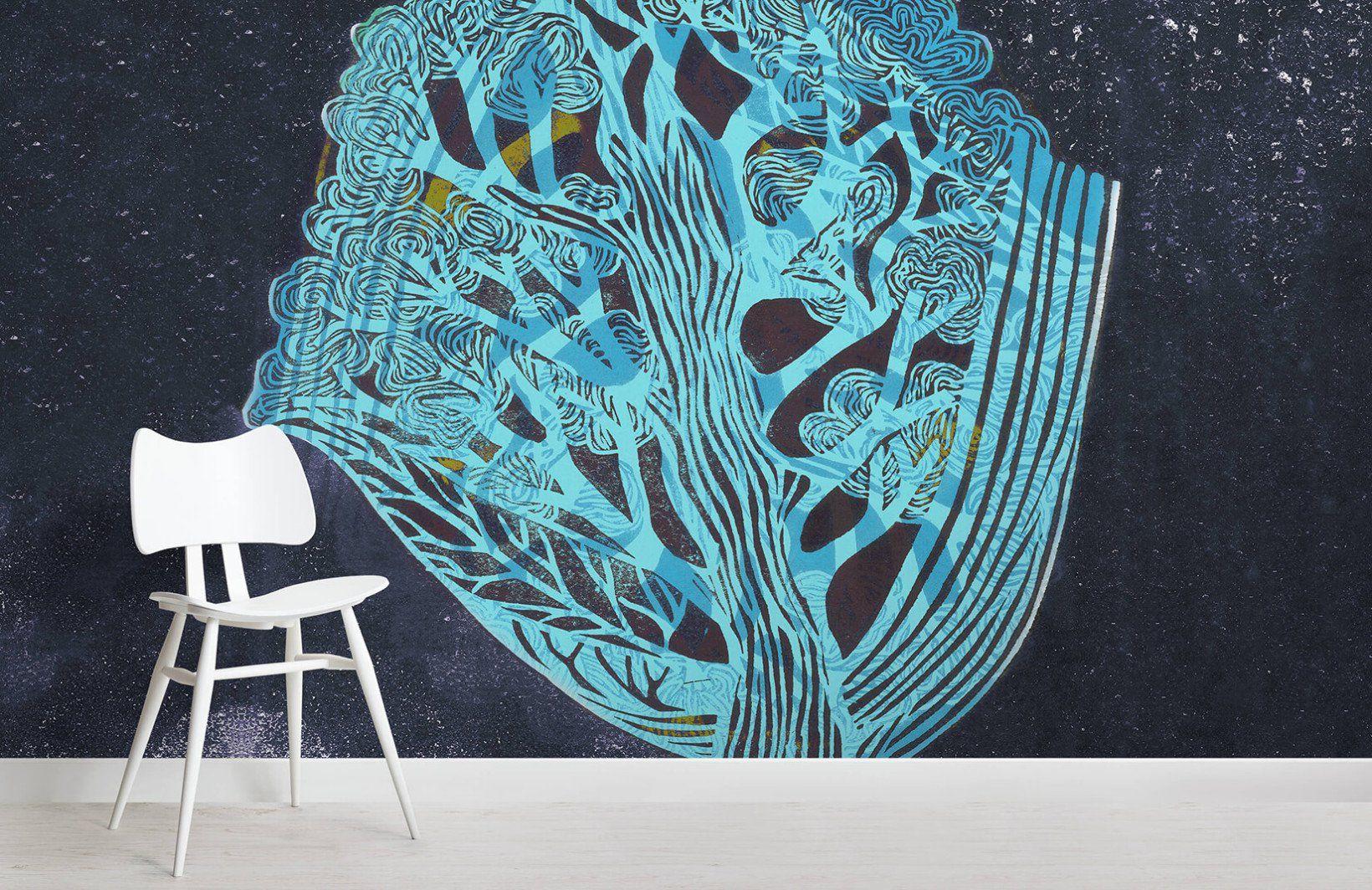 Midnight Blue Tree Wall Mural Tree wall murals, Tree