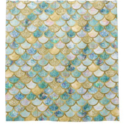 Gold Foil Glitter Green Mermaid Scales Pattern Shower Curtain
