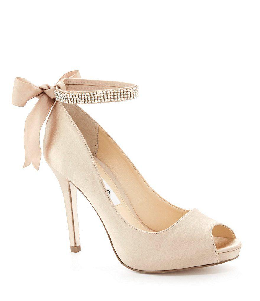 Nina Karen Satin Jeweled Ankle Strap Bow Back Peep-Toe Pumps GWVsAB6oD
