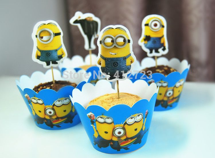 New Minions baby shower cake decorations kids birthday party cakecup