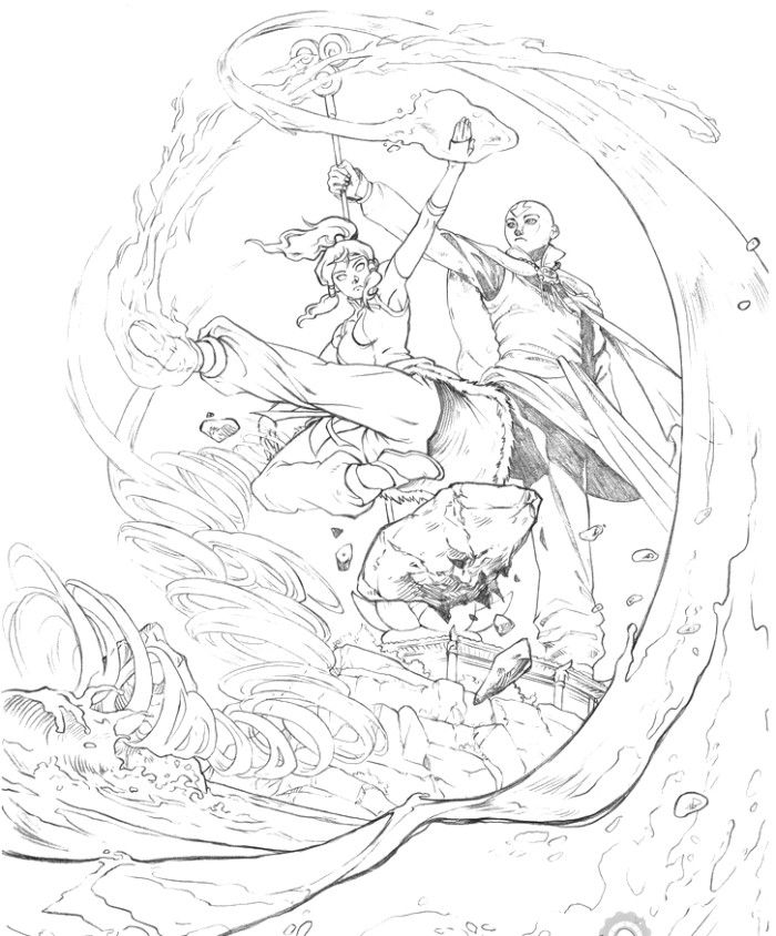 Avatar The Legend Of Korra With Friends Action Coloring Pages ...