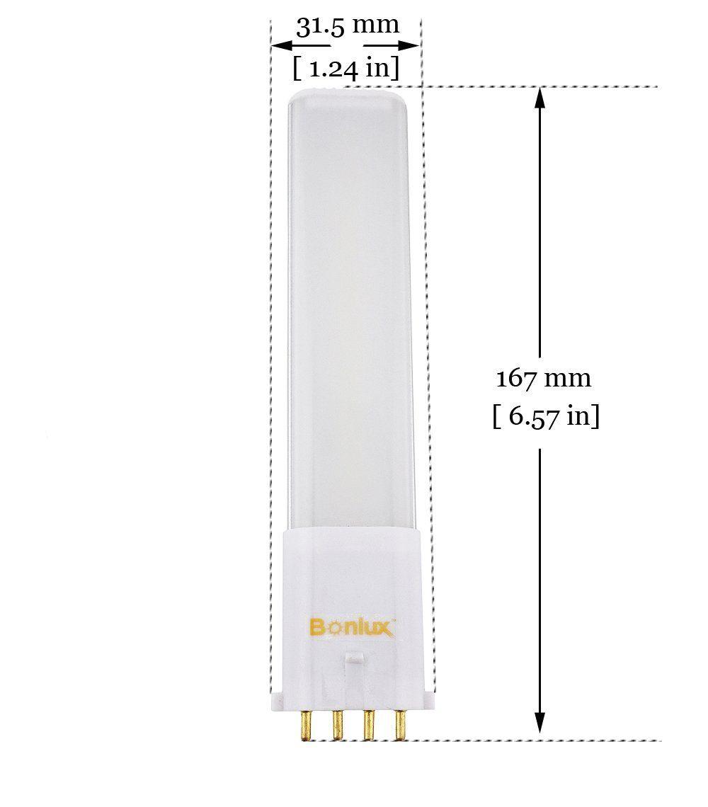 Bonlux 2 Pack Led 2g7 4 Pin Pl Retrofit Lamp Daylight 6000k 180 Degrees 13w Cfl Compact Fluorescent Light Replacement L Fluorescent Light Downlights Light Bulb