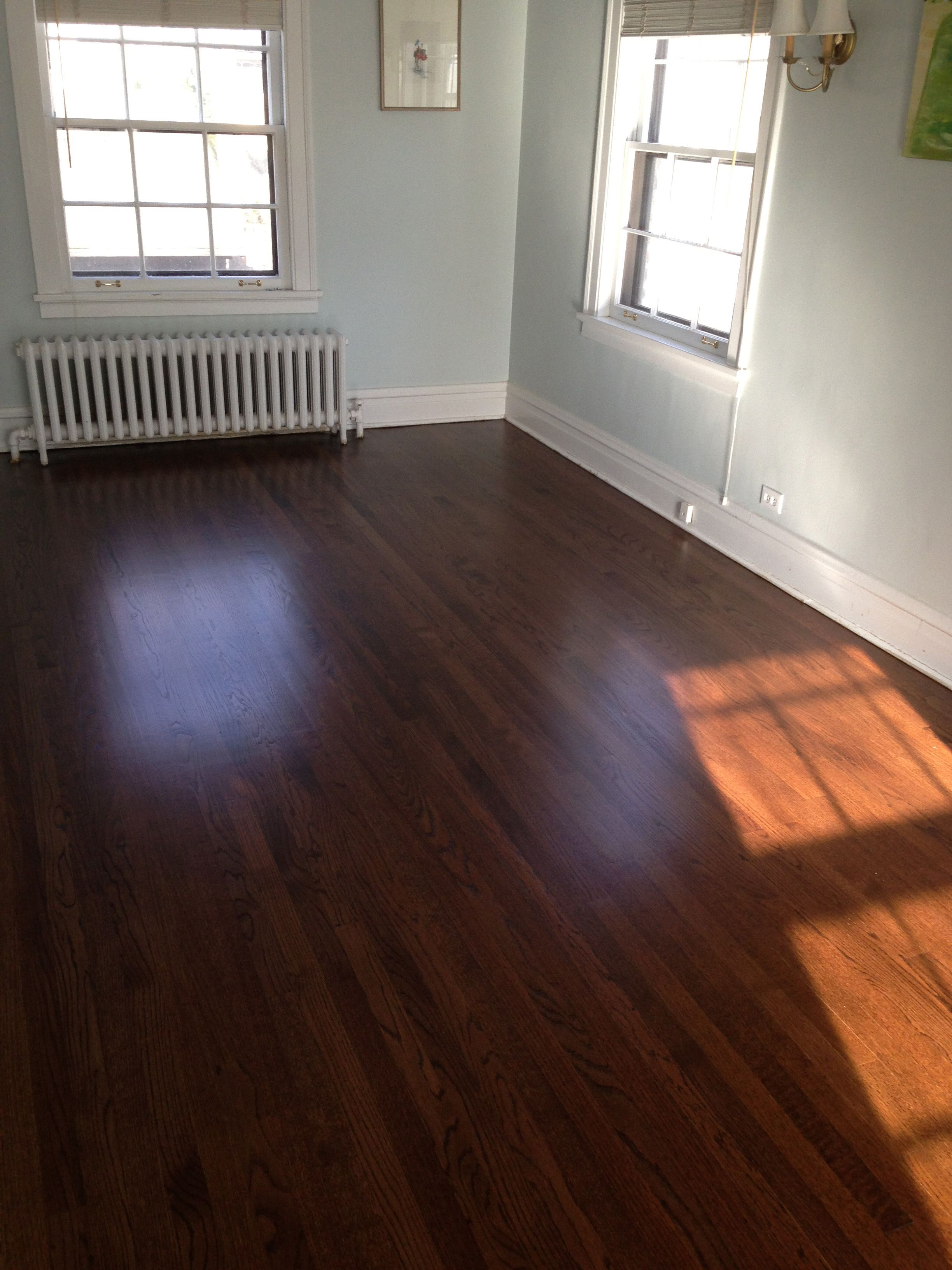 Red oak floor with a rich dark walnut stain wood for Staining hardwood floors