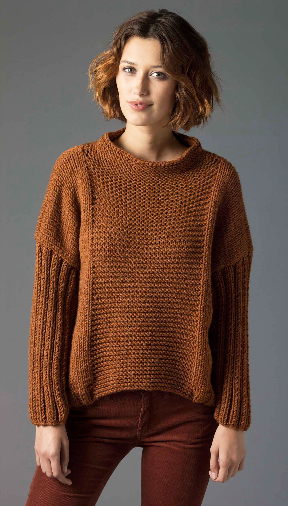 Knitting Patterns Sweater : Easy knit pullover lion brand free pdf pattern
