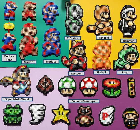 8bit mario character or item sprite magnet by