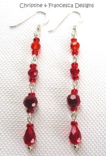 <3 Choose colour combination <3 ♥ .925 Sterling Silver RED ORANGE Faceted Czech Glass Crystal Long Drop Hook Earrings + Gift Box & Organza Gift Bag ~ by Christine & Francesca Designs ---- #handmade #handcrafted #crystal #czech #silver #jewellery #hook #earrings #dangle #red #orange #glass #sterling