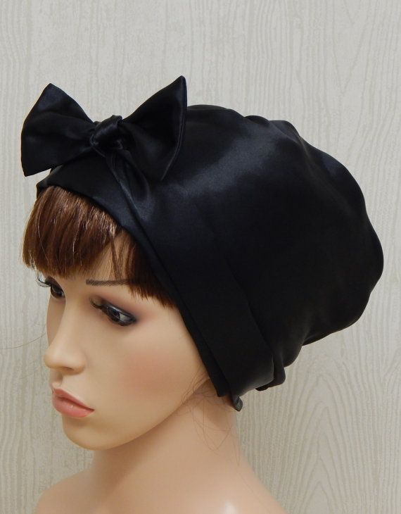 Black satin head covering, Jewish women tichel, bad hair day bonnet ...