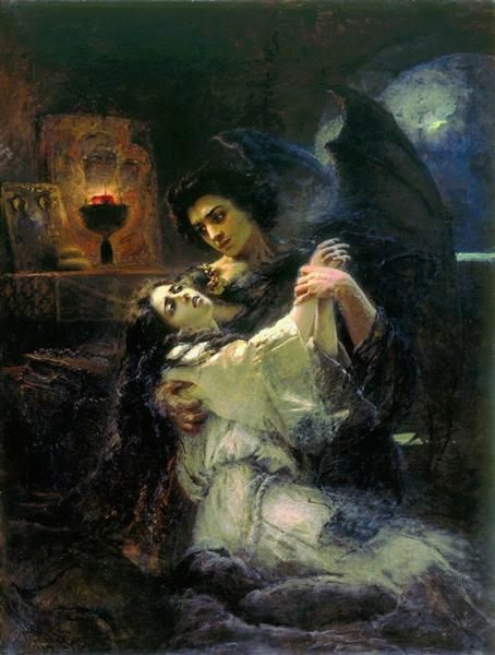 Tamara And Demon 1889 By Konstantin Makovsky Romanticism Literary Painting