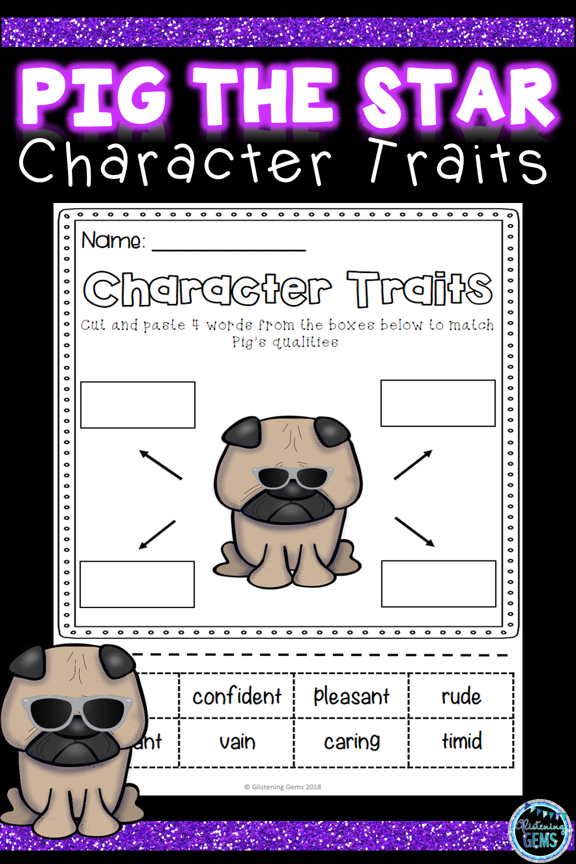 Pig The Star Character Traits Activities Bundle