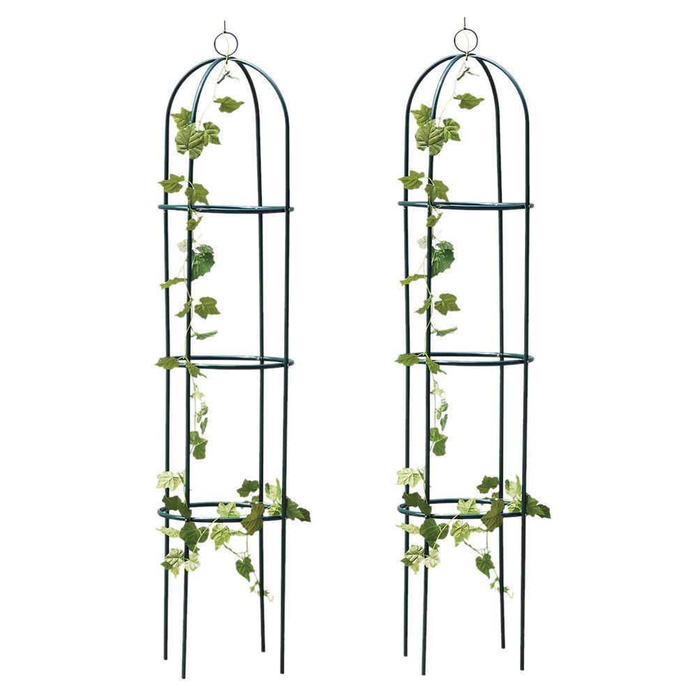 Metal Garden Obelisks Climbing Plant Support Roses Set of 2
