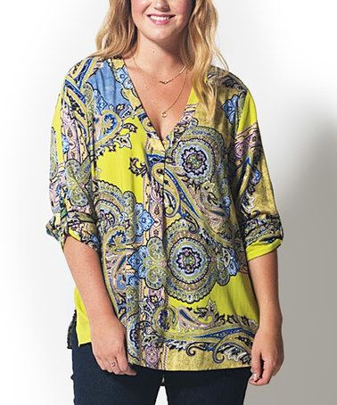 This Yellow Paisley V-Neck Top - Plus is perfect! #zulilyfinds