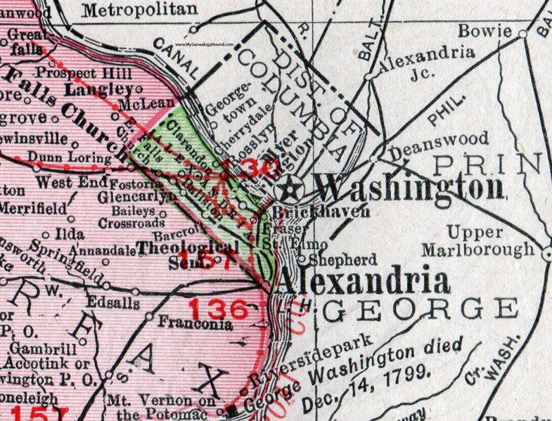 Falls Church Virginia Map.Alexandria County Virginia Map 1911 Rand Mcnally Arlington