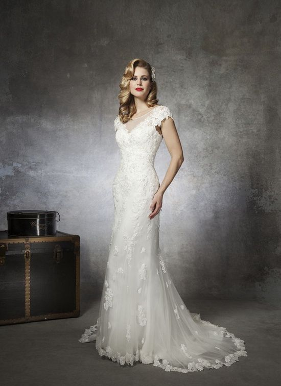 Super charming lace wedding gown with cap sleeves
