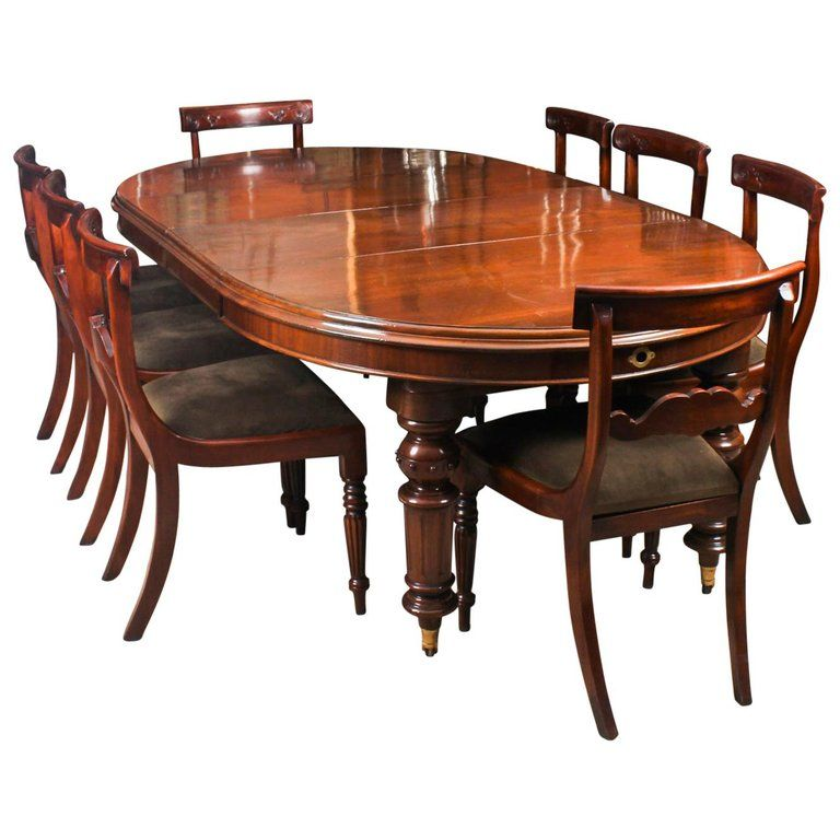 Antique Victorian Oval Dining Table 19th Century And 8 Bar Back