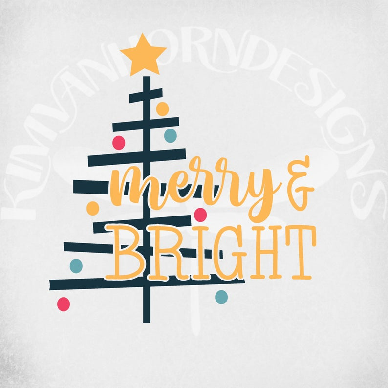 Merry & Bright svg, dxf, png and printable jpeg for iron