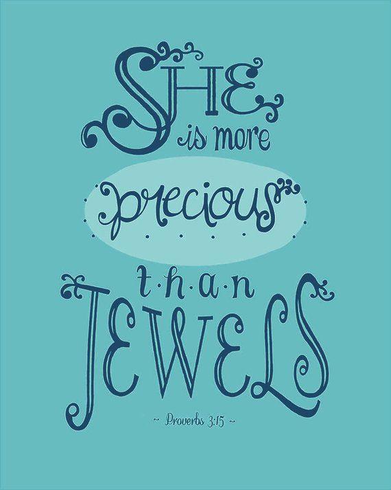 Printable Bible Verse - Teal Nursery Decor, Proverbs 3:15