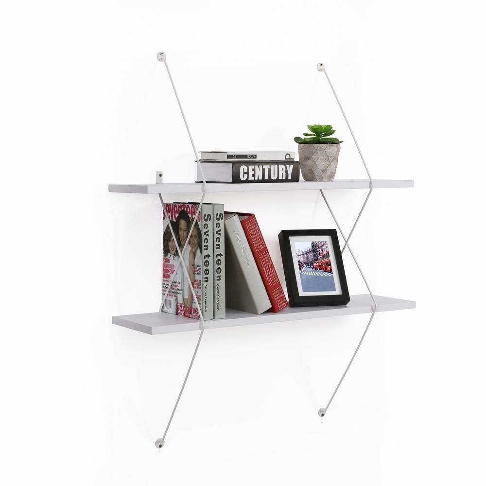 Danya B Contemporary 2 Level White Shelving System With White Wire Brackets Wl201wh White Shelves Shelves Wall Shelves