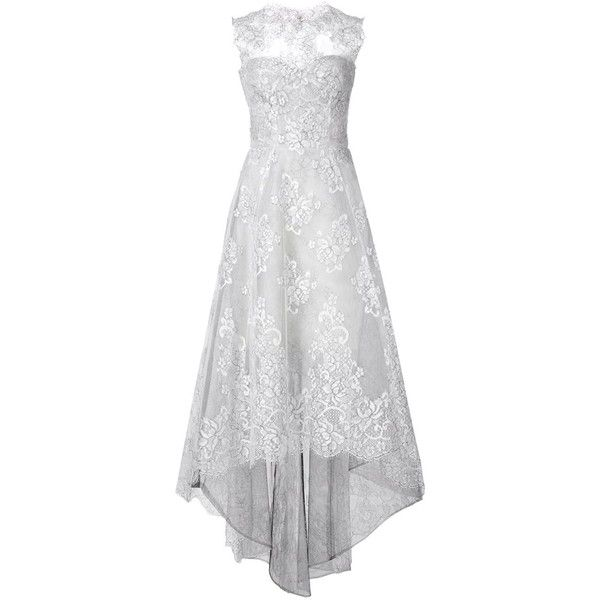 Monique Lhuillier flared lace dress (€5.095) ❤ liked on Polyvore featuring dresses, gowns, gown, vestidos, white, white lace dress, lace dress, flared dresses, lace gown and lace ball gown