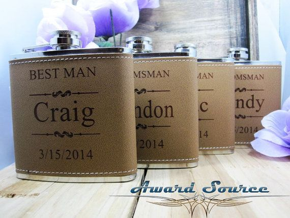 Personalized Groomsmen Gift 1 Leather Engraved by AwardSourceLLC