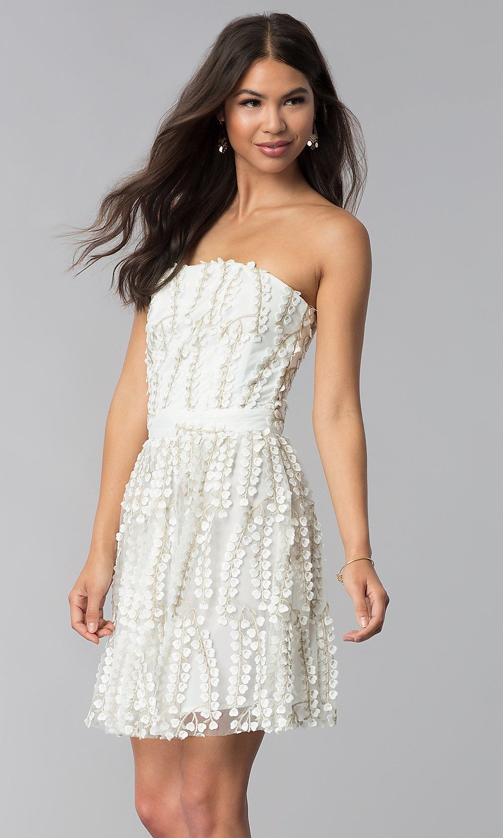 Strapless Ivory Lace Graduation Party Dress White Dress Party Embroidered Party Dress Graduation Party Dresses [ 1666 x 1000 Pixel ]