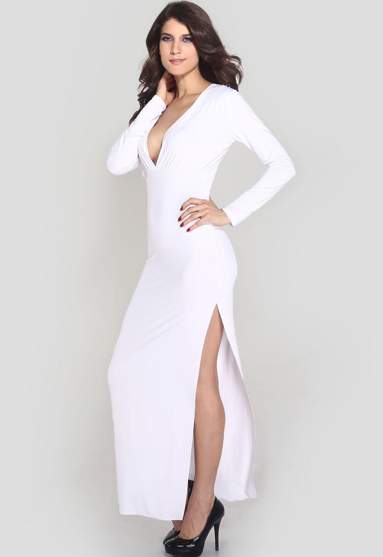 Long sleeve white dress with slit