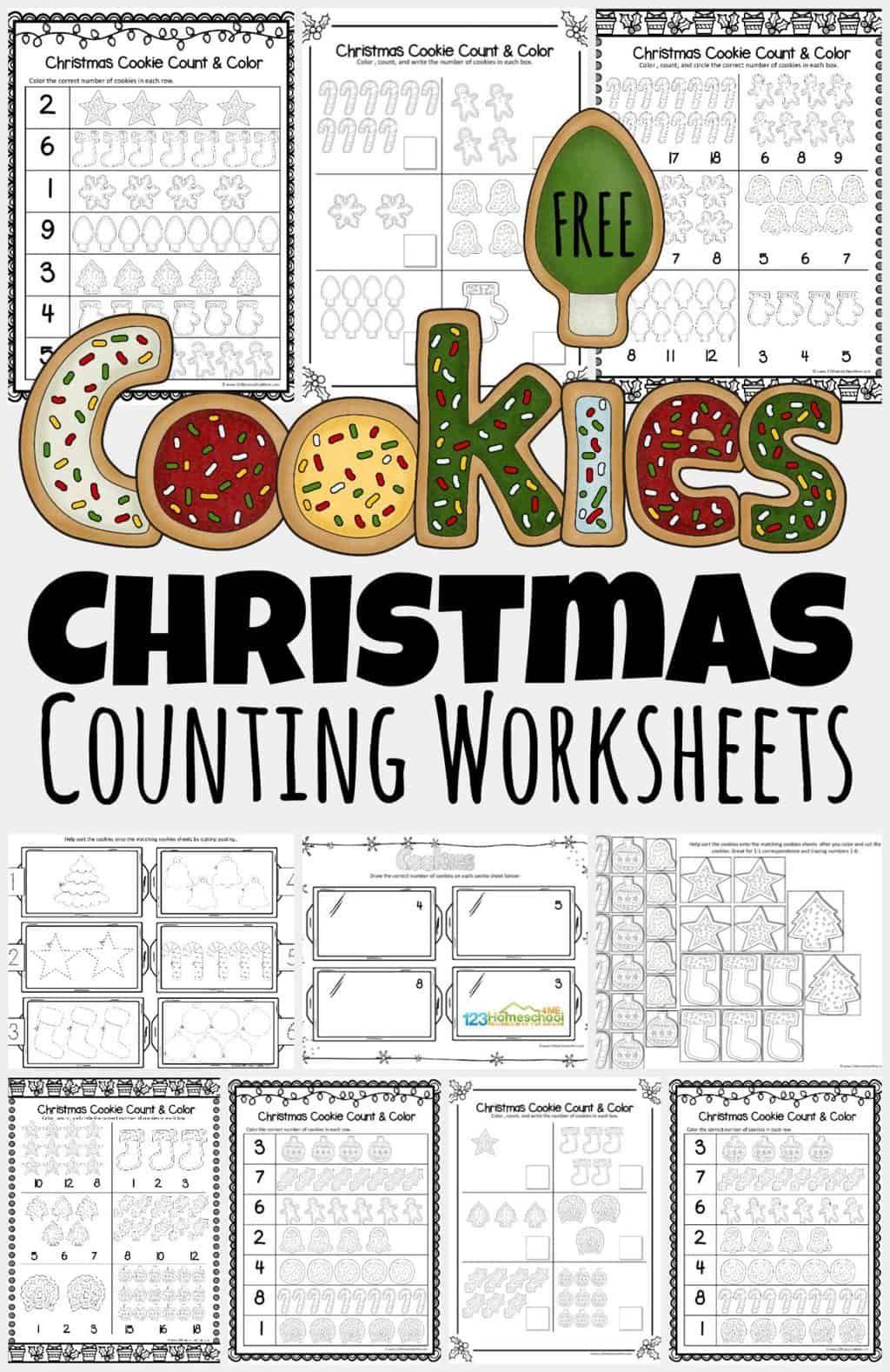 Free Christmas Cookies Counting Worksheets Preschool Worksheets Free Printables Counting Worksheets For Kindergarten Christmas Math Worksheets [ 1578 x 1024 Pixel ]
