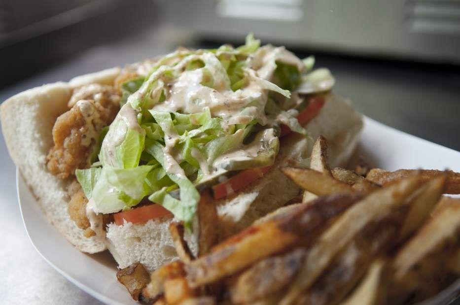Shrimp Po\' Boy sandwich at Craftwork Kitchen on the plaza at the ...