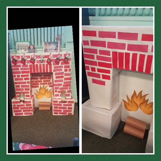 Pretty to make for office space for holidays Christmas decor- chimney