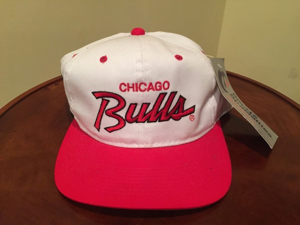 6f51cf4d79aab Vintage Chicago Bulls Side Logo Script Snapback Hat Cap Sports Specialties  NBA
