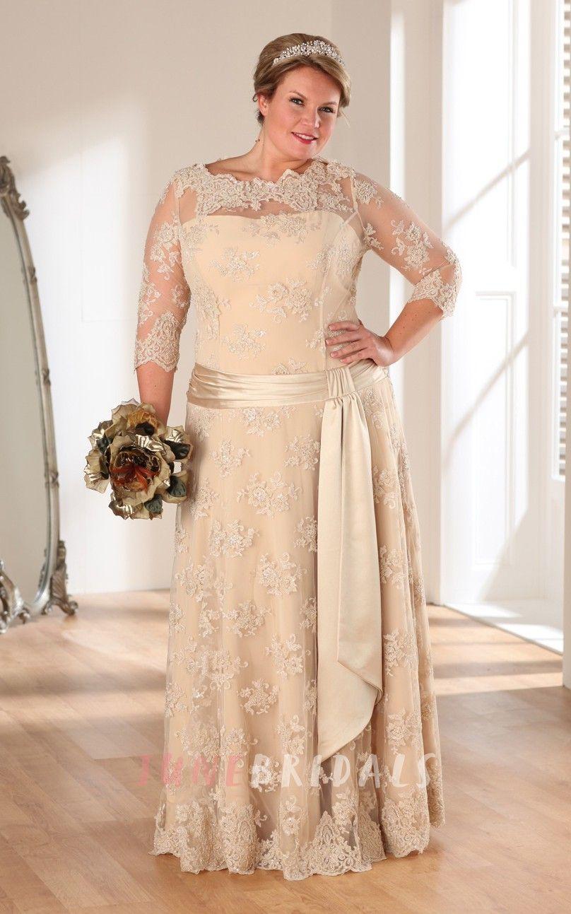 3 4 sleeve lace wedding dress  ALine Long Bateau Neck Sleeve Lace Illusion Sash Dress