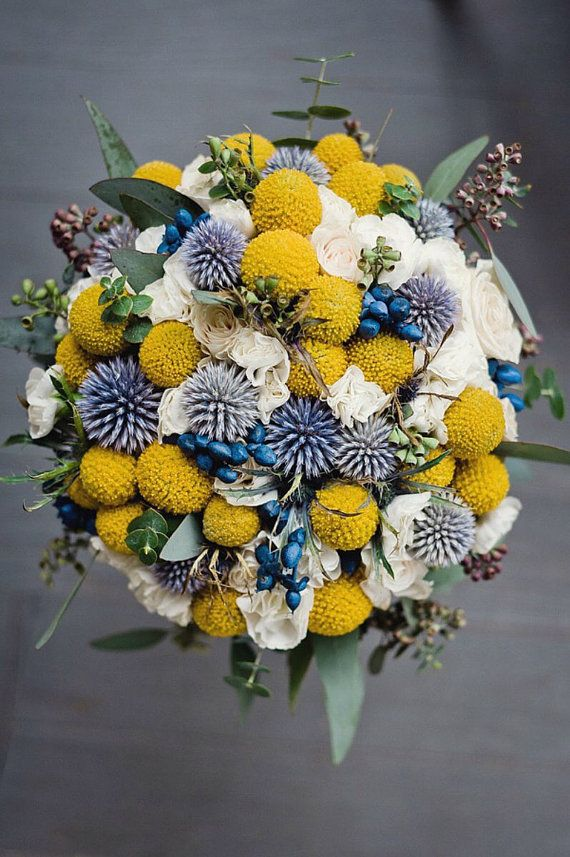 Wedding Flowers Craspedia Blue Thistle And By Bohemianbouquets Yellow Wedding Bouquet Billy Balls Wedding Bridal Bouquet Blue