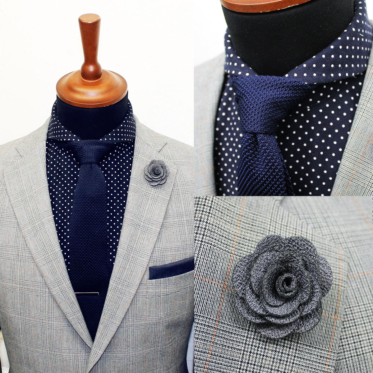 The new dark blue knitted tie available at Blue suit shirt tie combinations