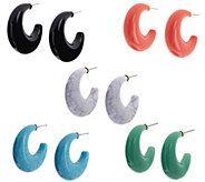 Joan Rivers Set of 5 Classic Hoop Earrings - J321475