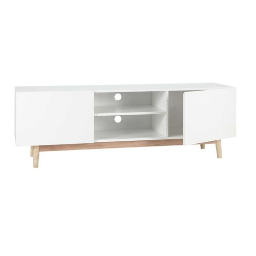 Meuble TV vintage blanc | TV unit, Tv furniture and Wood design