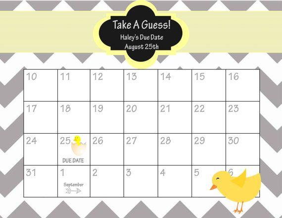 baby shower calendar game printable free