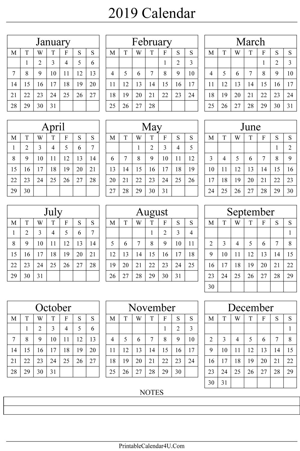 Yearly Calendar 2019 Printable annual calendar 2019 portrait printable calendar 2017 | Gift ideas