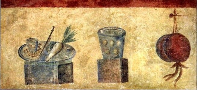 Roman fresco depicting different vegetables and fruits for Ancient roman cuisine history