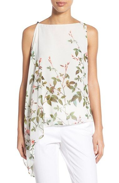 855fb013f0 Adrianna Papell Floral Print Asymmetrical Chiffon Blouse available at  #Nordstrom